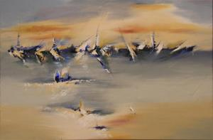 """After the Rain 24"""" x 36"""" Abstract Oil Painting by Cynthia Ligeros"""