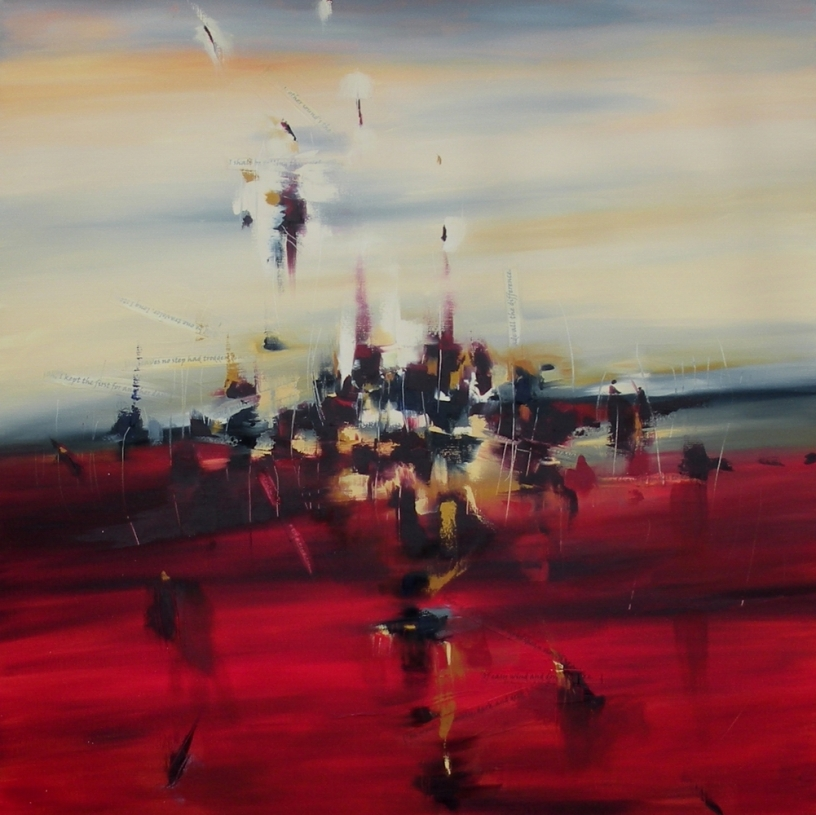 Blaze of Noon 36″ x 36″ Abstract Oil Painting by Cynthia Ligeros