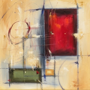 "Diverge 20"" x 20"" Abstract Oil Painting by Cynthia Ligeros"