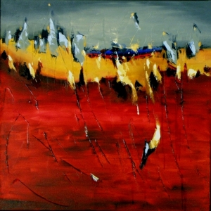 Embers 20″ x 20″ Abstract Oil Painting by Cynthia Ligeros