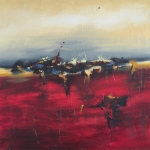 Penumbra Sunset 24″ x 24″ Abstract Oil Painting by Cynthia Ligeros