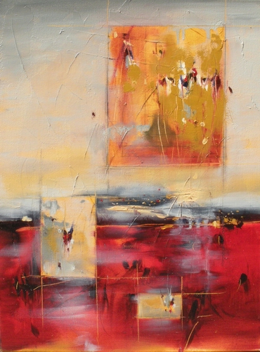 "Segmentation 18"" x 24"" Abstract Oil Painting by Cynthia Ligeros"