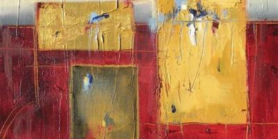 """Spectrum 10"""" x 10"""" Abstract Oil Painting by Cynthia Ligeros"""