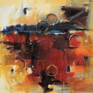 "Radiant Horizon 30"" x 30"" Abstract Oil Painting $1800"