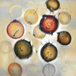 "Pieces of Light 48"" x 48"" Abstract Oil and Silver Leaf $3800."