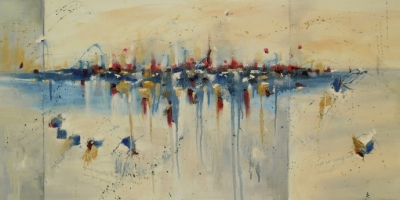 Charade of Desire 24″ x 48″ Abstract Oil Painting